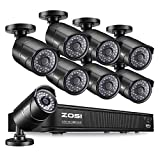 ZOSI PoE Home Security Camera System,8CH 2MP NVR with (8) 2.0 Megapixel 1920x1080 Outdoor/Indoor Surveillance Bullet IP Cameras 120ft Long Night Vision,Remote Access,Motion Detection(No Hard Drive)
