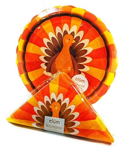 Turkey Themed Thanksgiving Disposable Plates and Napkins for Meals or Parties, Bundle of Two Items
