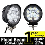 Cheap TMH 27w Round Shape 60 Degree LED Work Light Flood Beam Spot Lamp Driving Light, Jeep, Off-road, 4wd, 4×4, Utv, Sand Rail, Atv, Suv, Motorbike, Motorcycle, Bike, Dirt Bike, Bus, Trailer, Truck, Train, Mining Truck, Excavator, Bulldozer, Crane, Road Roller, Fork Lift, Fire Engine, Police & Rescue Vehicle, Military Vehicle, Camping, Courtyard Lamp, Fishing, Boat, Yacht, Road Lamp, Tractor, Golf, Street Light, Fog Lamp, Day Light, Marine Deck Pack of 2