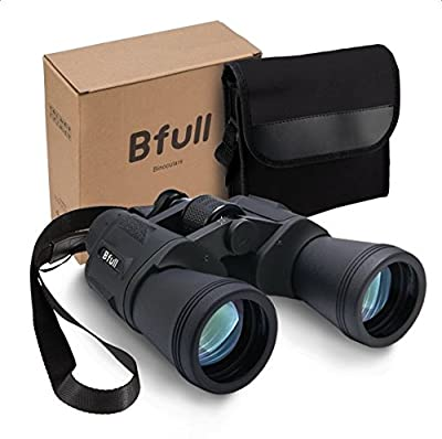 BFULL 12 x 50 Binoculars for Adults Kids, Compact Binocular Folding Durable Binoculars Stargazing for Bird Watching Children Sporting Game (Black) +Carrying case+Strap