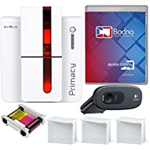 Evolis Primacy Dual Sided ID Card Printer & Complete Supplies Package with Silver Bodno ID Software
