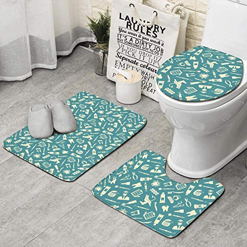 RTRTRTWQE Seamless Pattern On The Theme of Dentistry 3 PCS Set Toilet Lid Cover Home Extra Soft Latex Backing Non Slip Adds Create Pattern to Any Bathroom ()