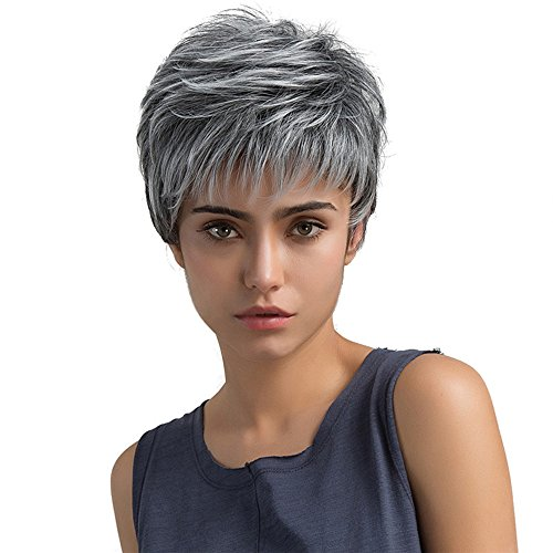 Befunny Synthetic Hair Wigs Short Grey Synthetic Full Wig for Black Women Fashion Style Hair Wig with Elastic Net Breathable Medium Size (Synthetic Grey Hair Wig)