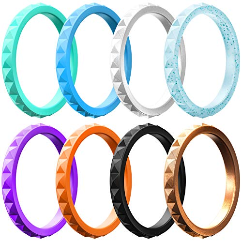 ThunderFit Thin and Stackable Silicone Rings, 8 Pack - Silicone Wedding Bands for Women - Diamond - Ring 10k Quartz