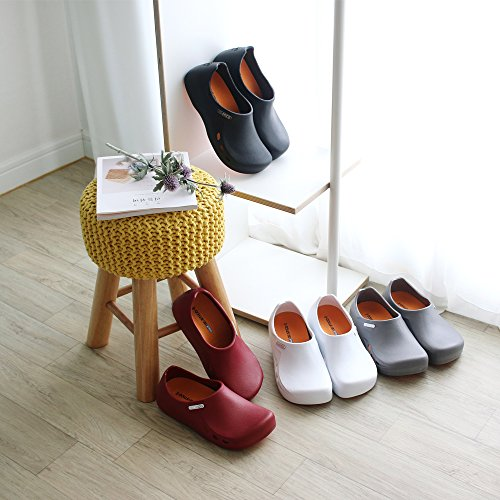 Garden Muel Shoes STICO Slip Mens Size For White 10 Chef Restaurant Black Work Nursing Resistant Safety US White Hospital Kitchen 4 Colors Gray Clog Wine 7 dYq6ztrq