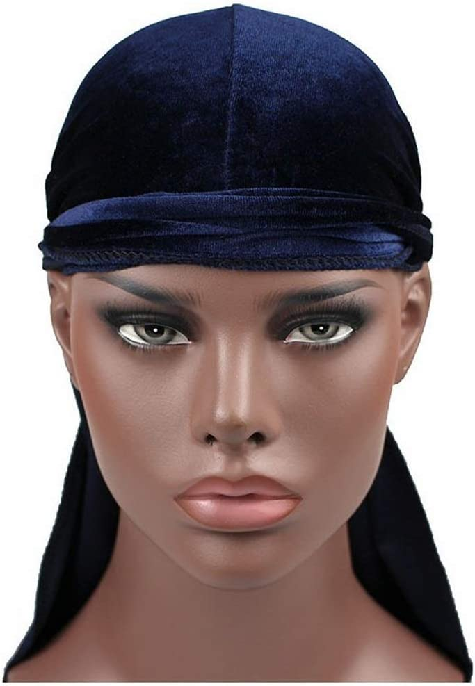 HMMJ Unisex Silky Durag Velvet Long-Tail Braid Pirate Cap Elastic 360 Waves Headwraps Hair Loss Chemo Hat 2pcs