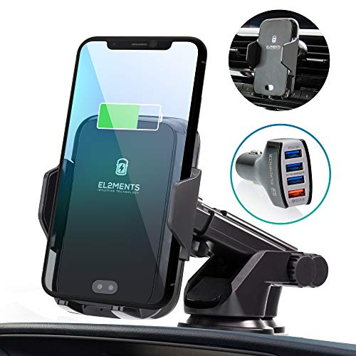 EL2MENTS, Wireless Car Charger, Auto Clamping Qi Fast Charging Car Phone Holder Air Vent/Dash Mount, QC 3.0 Adapter, Compatible with Samsung Note 9/ S9/ S9+/ S8/ S8+ iPhone Xs/Xs Max/XR/X / 8/8 Plus