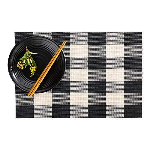 Restaurantware RWA0429 Carmel Mesh Black and White Vinyl Woven Placemat Large Gingham 16