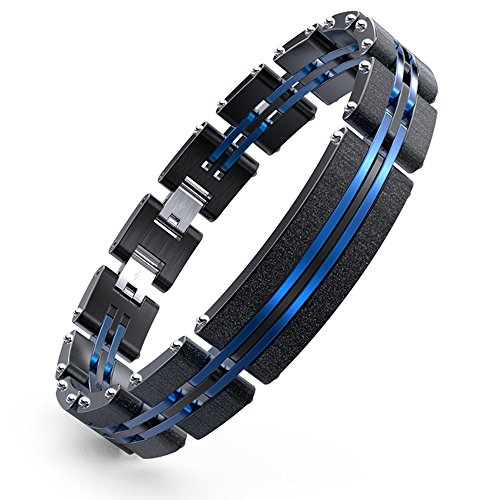 8.5' Stainless Steel Bracelet (WANGOK Men Black And Blue Stainless Steel Bracelet Adjustable Bracelet With Fashion Sand Blasting In 8.5-9.4 Inch Can Be Size Down)