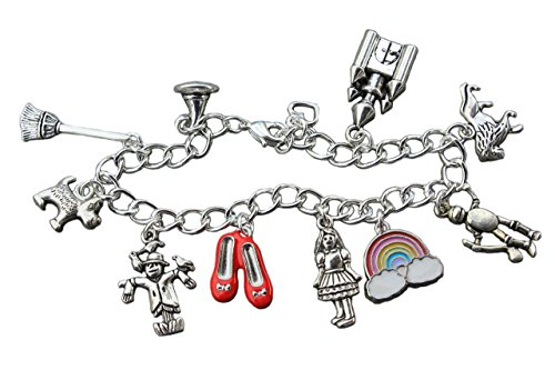 Wizard of Oz Silver Plated Charm Bracelet- Dorothy, Toto, Ruby Slippers, Tin Man, Lion, Scarecrow Charms (Child Size 6.5 Inches) (Hat Red Charm Bracelet)