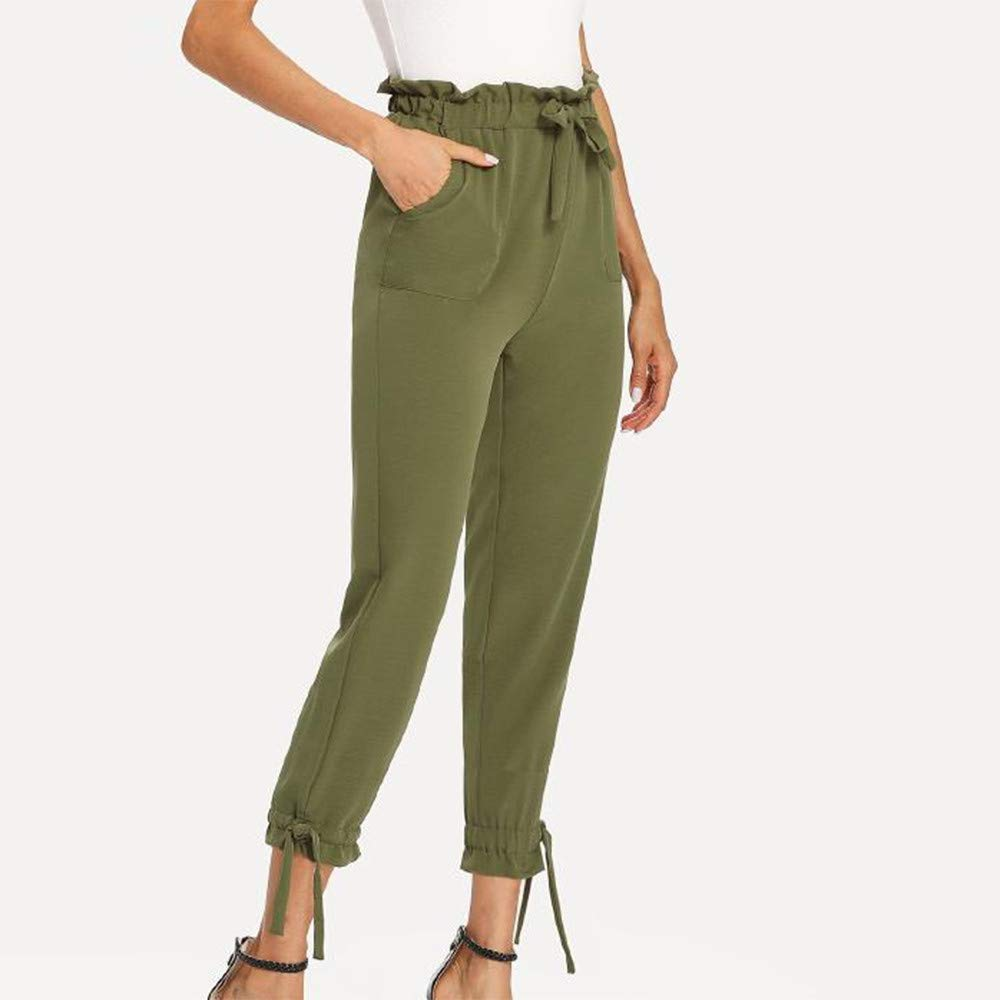 UONQD Womens Ladies Bow Pocket Trousers Long Pants Slim fit Leggings (Medium,Green) by UONQD (Image #4)