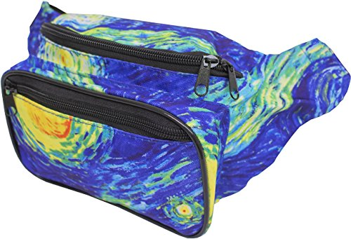 (SoJourner Galaxy Rave Fanny Pack - Packs for festival women, men | Cute Fashion Waist Bag Belt Bags (Starry Night)