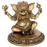 Kapasi Handicrafts God Ganesha / Ganapati Playing Musical Instruments Manjira Brass Idol Statue Showpiece ( 6 x 5.5 x 6 Inches)