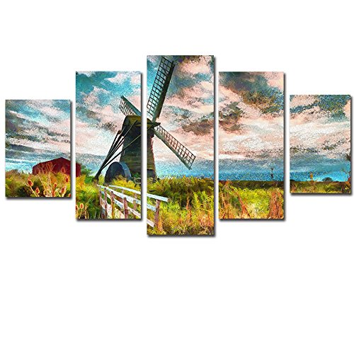 [LARGE] Premium Quality Canvas Printed Wall Art Poster 5 Pieces / 5 Pannel Wall Decor Netherland Design Painting, Home Decor Pictures - With Wooden Frame by PEACOCK JEWELS