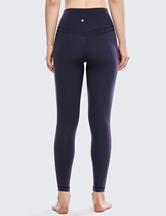 CRZ YOGA Donna Controllo Pancia Lycra Palestra Pantaloni Yoga Fitness Sportivi Leggings con Tasche-63cm