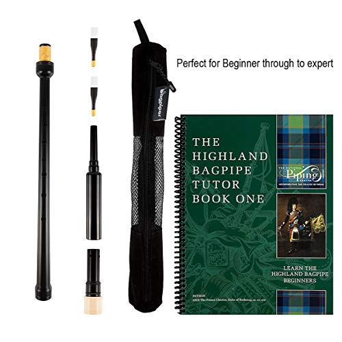 Trutone Long Highland Bagpipe Practice Chanter, The Piping Centre of Scotland Tutor Book, Qty 2 Reeds in a Breathable Case