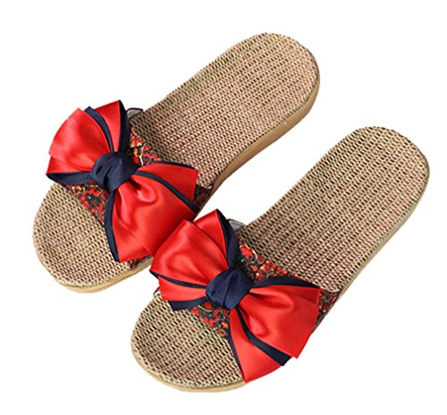 Cravatta Da Donna Estate Big Bow Da Interno Pantofole Da Casa Pantofole Rosse