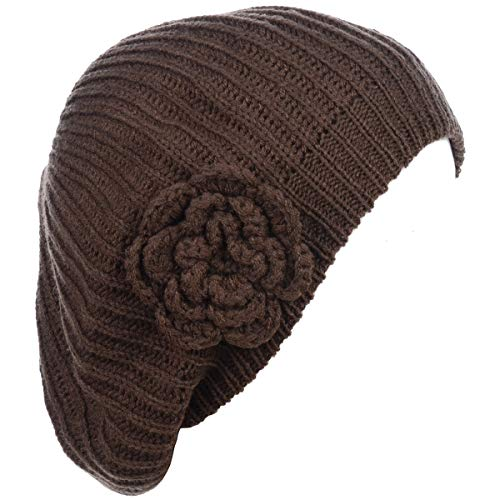 Be Your Own Style BYOS Ladies Winter Solid Chic Slouchy Ribbed Crochet Knit Beret Beanie Hat W/Flower Adornment