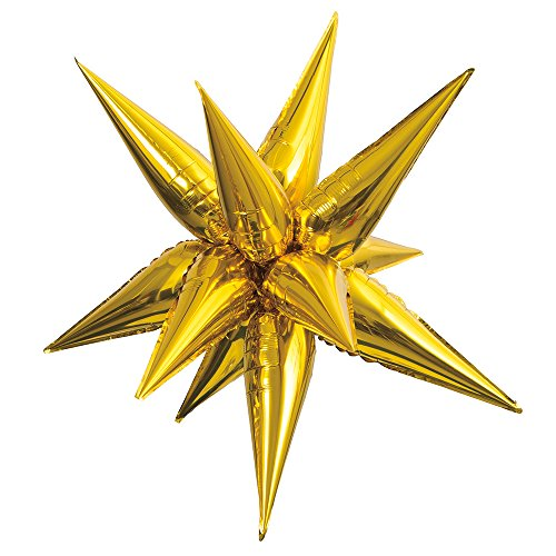 (Large Foil 12 Point Gold Star Balloon )