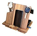 #10: wood phone docking station walnut with key holder, wallet stand and watch organizer men's android iPhone (X, 8, 8 plus, 7, 7 plus, 6s plus, 6s, 6 plus, 6, 5, 5s) samsung galaxy etc.