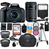 Canon EOS Rebel T7i DSLR Camera with Canon EF-S 18-135mm f/3.5-5.6 IS STM Lens + Canon EF-S 55-250mm f/4-5.6 IS STM Lens+ Accessory Bundle