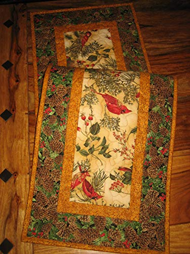 - Quilted Table Runner, Christmas Red Cardinals and Pinecones, 13x48