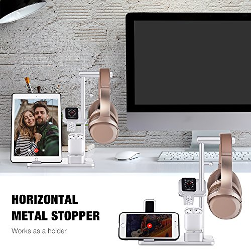 TYCKA Aluminum 4 in 1 Apple Charge Station, Apple Watch + iPhone stand + AirPods Charging Stand + Headphone Holder for Apple Watch Series 3/2/1, iPhoneX 8Plus 8 7Plus 7 6s 6Plus 6, iPad with Silver by TYCKA (Image #3)