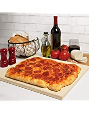 """CucinaPro Pizza Stone for Oven, Grill, BBQ- Rectangular Pizza Baking Stone- XL 16"""" x 14"""" Pan for Perfect Crispy Crust- Extra Thick 5/8"""""""