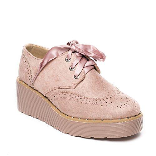 Ideal Shoes, Damen Schnürhalbschuhe Rose