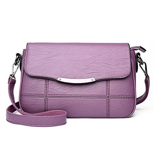 GWQGZ Señoras Bolso De Moda Único Ocio Nuevo Bolso De Cuero Suave Bolsa Cruzada Violeta Violet