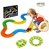 WTOR Tracks Toy Durable 240PCS Race Car Track Racetracks and Car Glow in the dark Play Toys Set - Flexible Assembly Toys Set for Boys Girls Intellectual and Imagination Development