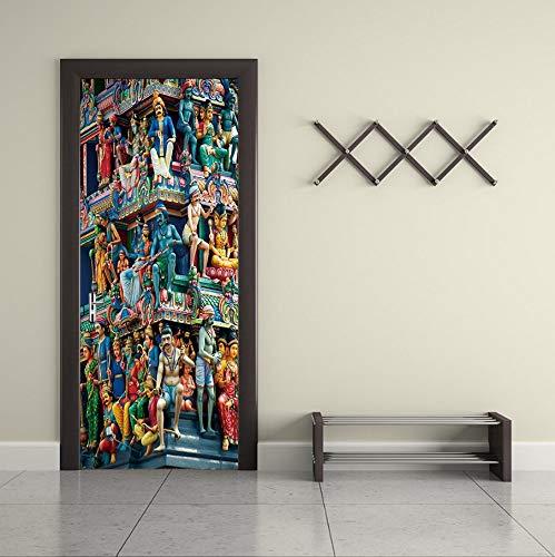 Door Sticker Wall Stickers Temple Imitation Living Room Bedroom Self Adhesive 77X200Cm