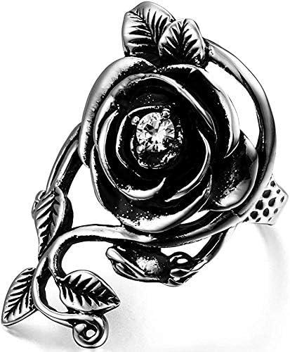 ハロウィン アクセサリー ステンレス リング 指輪 アンティーク風 ゴシック バラ 薔薇 ローズ ジルコニア ダイヤ シルバー 銀 ギフトバッグ 12号