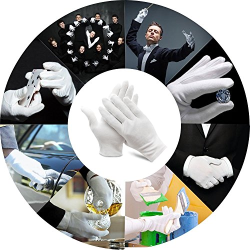 Bestgle White Gloves, 15 Pairs Soft Cotton Stretchable Work Glove for Coin Jewelry Silver Inspection, Doorman, Fire or Police Dress Glove Liner Uniform (Large) by Bestgle (Image #5)