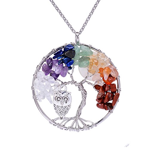 Silver Plated Wire Wrapped Crystal Copper Tree of Life Pendant Necklace for Girls Handmade Healing Chakra Natural Tumbled Semi Precious Stone Cute Owl Full Moon Gemstone Pendant Necklace (Halloween Main Idea)