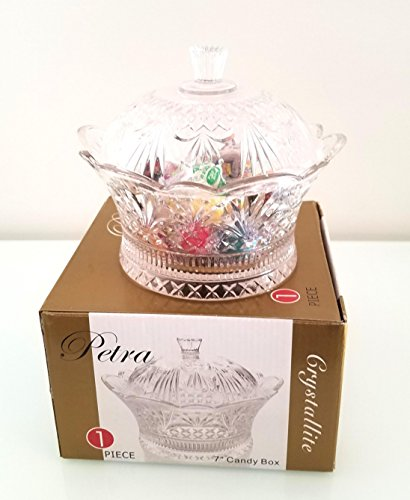Embossed Glass Candy Dish Bowl with Cover (Glass Candy Dish Bowl)