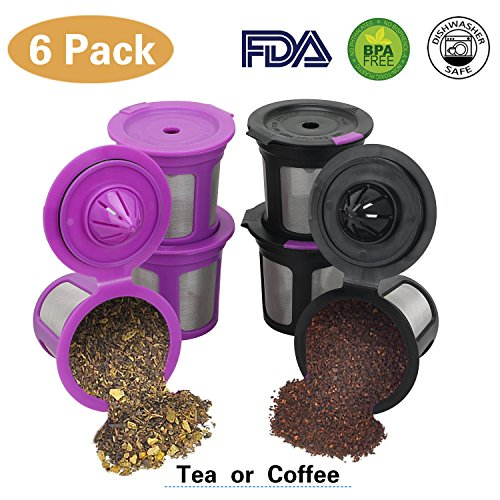 6 Pack Reusable Mesh Coffee Filter Pods for Keurig 2.0 & 1.0 Brewer, Universal Refillable Single K Cups Replacement Fits K15, K55, K145, K250, K300/K350, K400/K450/K460, K500/K550/K575, Keurig K-Elite