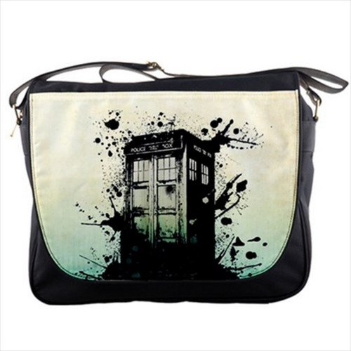 Splashed Police Box Tardis Doctor WHO for School College Work Shoulder Messenger Bag