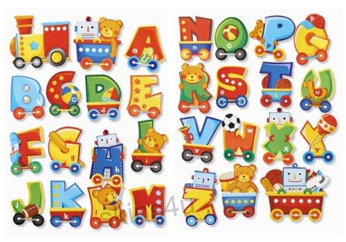 Stickerkoenig Wandtattoo 3D Sticker Wandsticker Kinderzimmer - süße Buchstaben 2 Bögen A-Z - Deko auch für Fenster, Schränke, Türen etc