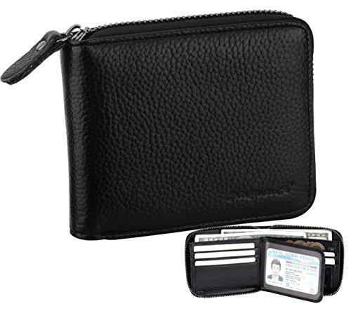 Admetus Men's Genuine Cow Leather Zip-around Bifold Wallet with Elegant Gift Box Black