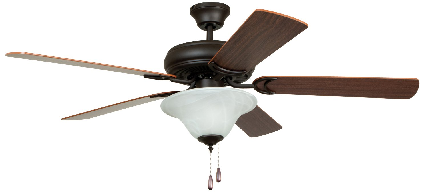 Litex E Dcf52fbz5c1 Decorator S Choice 52 Inch Ceiling Fan With Five Reversible Mahogany Dark Oak Blades And Single Light Kit Alabaster Glass