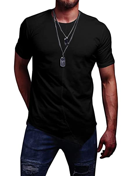 0af9541ed45 Karlywindow Mens Slim Fit Casual Solid Shirts Cropped Front Hem Speical Workout  T-Shirt Black