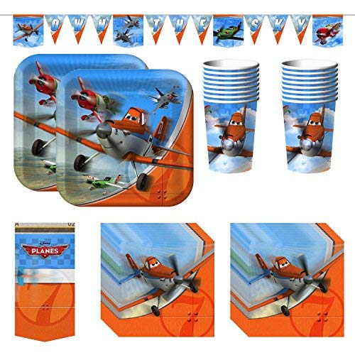 Disney Planes Party Bundle With Plates, Napkins, Cups, Tablecover, and Banner (16 Guests) -