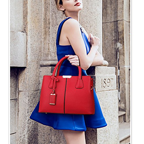 Classy Handle Satchel Tote Burgundy Women Bag FiveloveTwo Shoulder Bag Handbag Purse aR6x5qwY