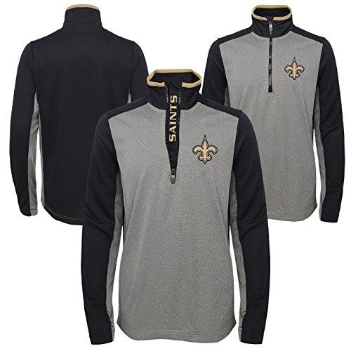 NFL Youth Boys Matrix 1/4 Zip Top-Light Charcoal-M(10-12), New Orleans Saints (New Saints Orleans Jacket Pullover)