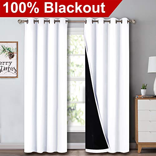 NICETOWN 100% Blackout Window Curtain Panels, Heat and Full Light Blocking Drapes with Black Liner for Nursery, 84 Inches Drop Thermal Insulated Draperies (White, 2 Pieces, 52' Wide Each Panel)