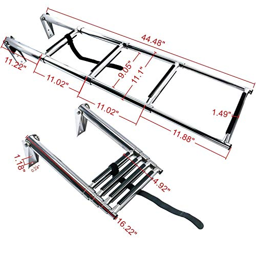 Amarine Made 4 Step Stainless Steel Telescoping Boat Ladder Swim Step ()
