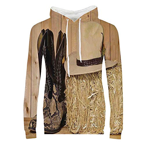 Western Decor Durable Hoodies,Snake Skin Cowboy Boots Timber Planks in Barn with Hay Old West Austin Texas for Women,XXL (Best Cowboy Boots In Austin Texas)
