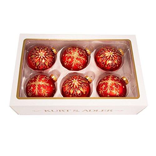 Kurt Adler 80 Mm Red Gold Fancy Pattern Balls 6 Pieces