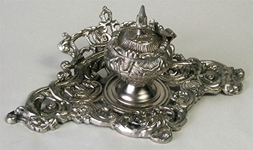 AA Importing 51661 Single Inkwell, Antique Silver Finish